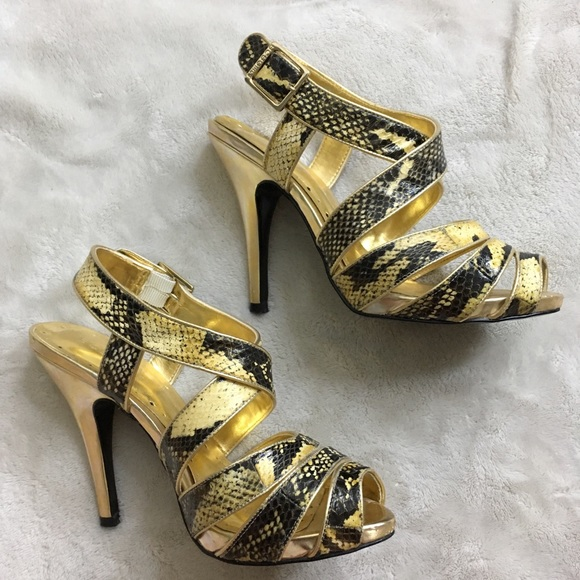 outlet retail prices purchase cheap BCBGirls Shoes   Bcbg Girls Gold Stap Heels   Poshmark